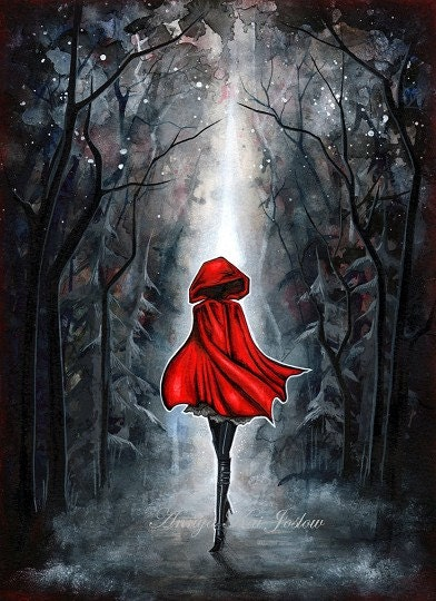 Little Red Riding Hood - Dark Fairytale - Painting Print by Annya Kai