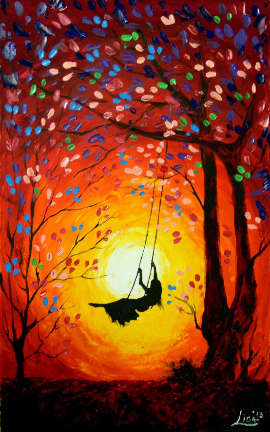 Original Abstract Painting The Swing