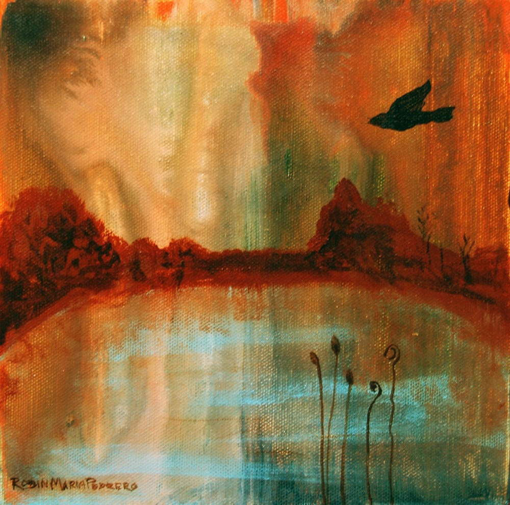 Secret Solitary Bird in a landscape with water and emotive sky print