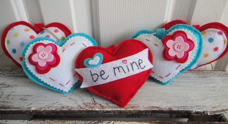 Be Mine. Colorful Valentine Heart Felt Garland