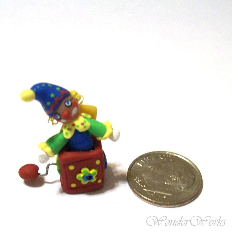 Jack-in-the-Box in Primary Colors - Handsculpted OOAK 1/12 Scale Dollhouse Toy