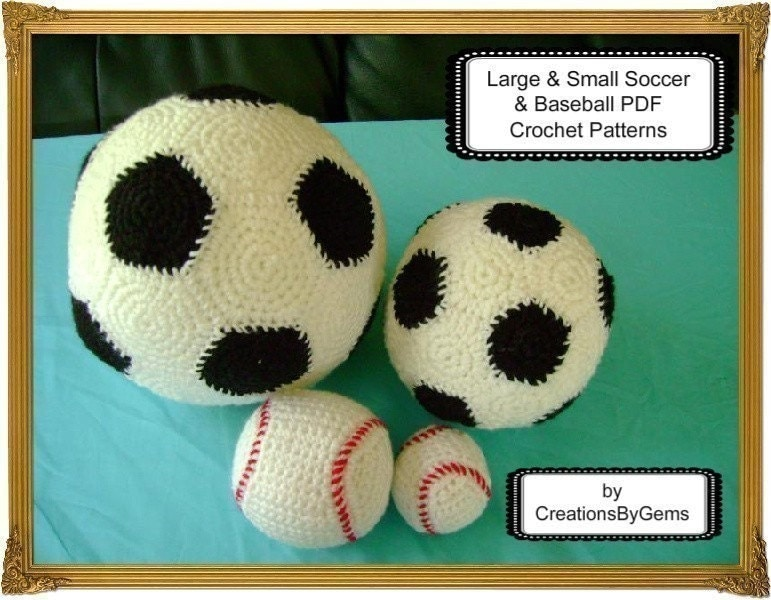 Small and Large Soccer Ball and Baseball PDF by GemCreations