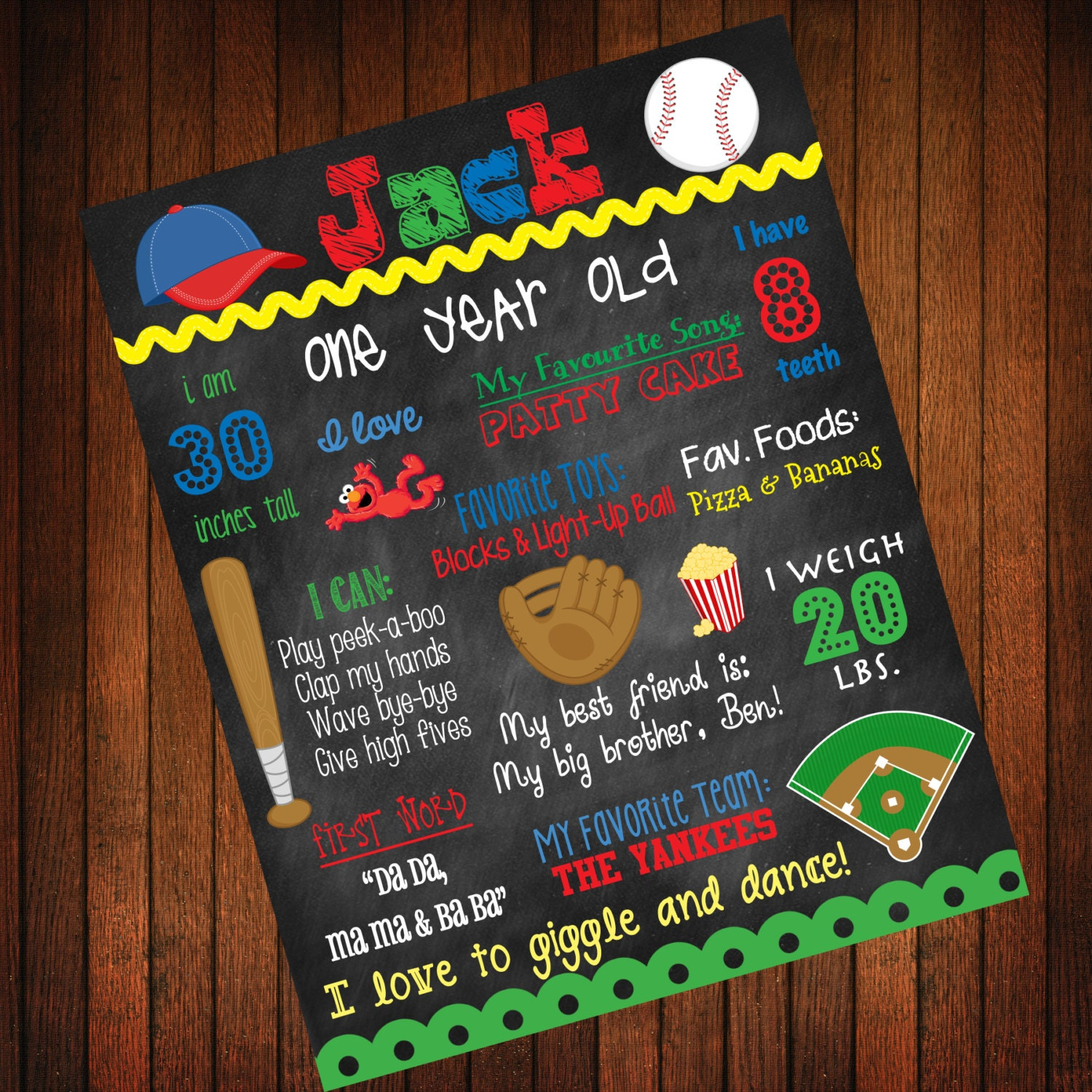 Custom Birthday Poster: Baseball Theme