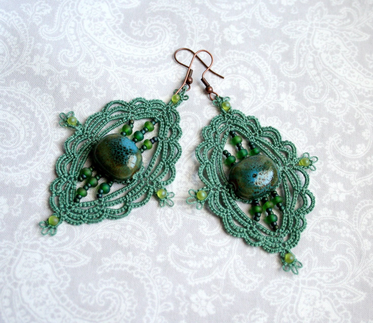 Teal Dangle Chandelier Tatting Lace Beaded Earrings - KnotTherapy