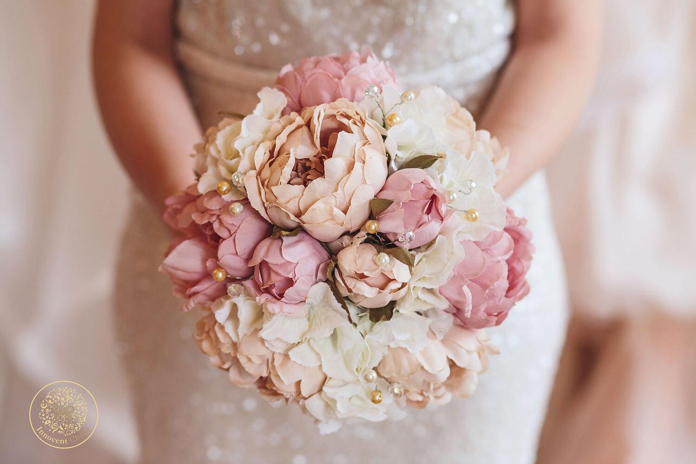 Blush bouquet pink bouquet throw bouquet keepsake flower silk bouquet ready to ship pink cream flowers blush wedding vintage bouquet
