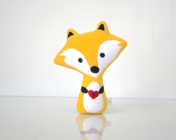 Fox Pillow - Fox Doll - Fox Toy - Fox Plush - Fox Softie (Gold / Yellow) - WinterPetals