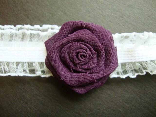 Garter Something Blue Bride Bridal Silk Bud Wedding Flower Purple Orchid