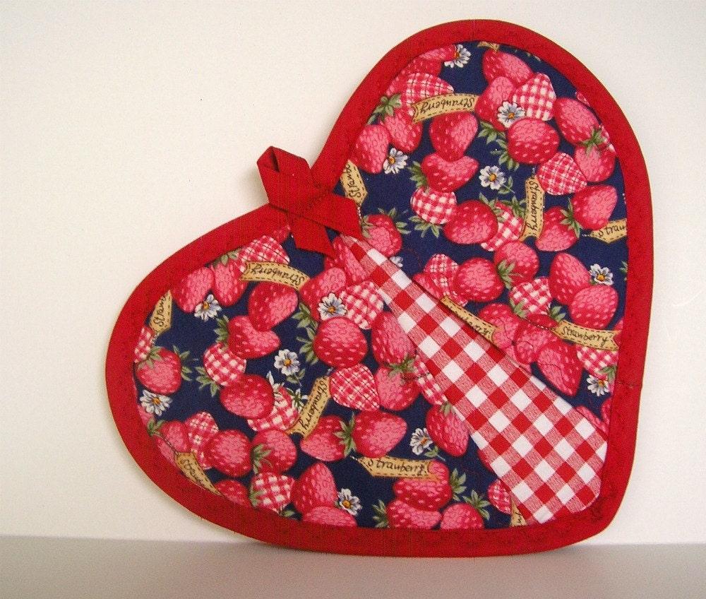 Strawberries and Gingham Potholder