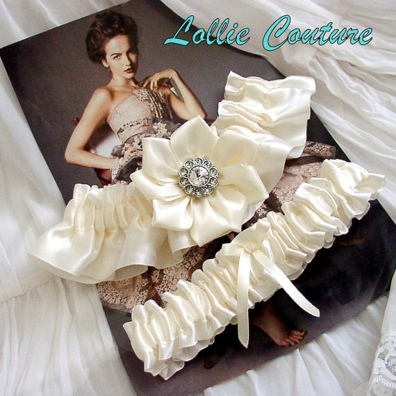 Garters ivory white purple blue bridal garter sets From lolliecouture