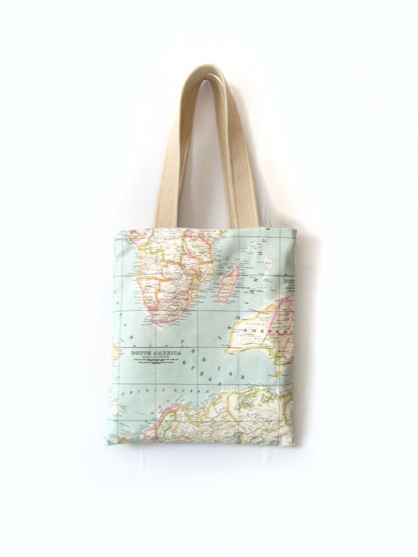World Map Print Tote Bag - inanirsakolurbence