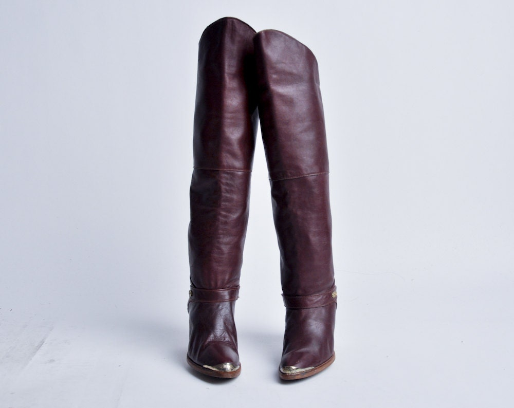 burgundy dingo leather thigh high boots 9 a by