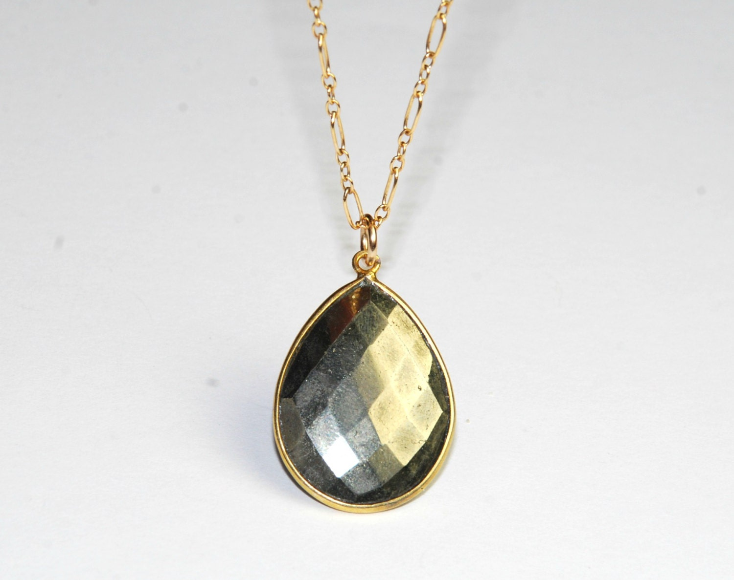 pyrite necklace metallic pendant gold necklace by eleven13