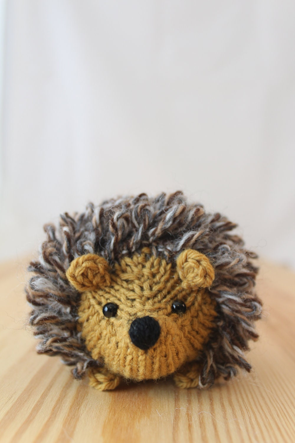 Stuffed Hedgehog Knitting Pattern : Little knitted hedgehog in honey and tweed stuffed by ...