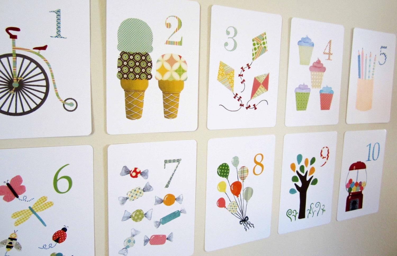 Number nursery art print kids wall art flash cards by for Kids wall art