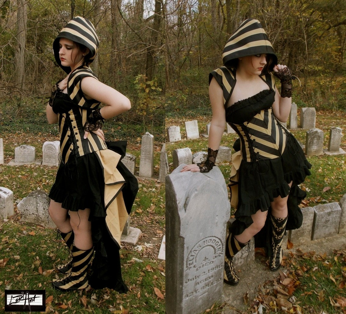 "Photo Shoot Set - Bolero Shrug Steampunk Elegance - Black and Pale Gold Stripe Corset,  Top, Skirt, Add-A-Bustle, and Spats - 24-27"" Waist"