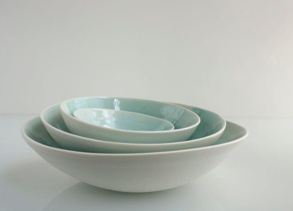 Pale Aqua Modern Nesting Porcelain Bowls - SuiteOneStudio