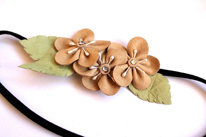 leather flower japanese sakura plum blossom headband