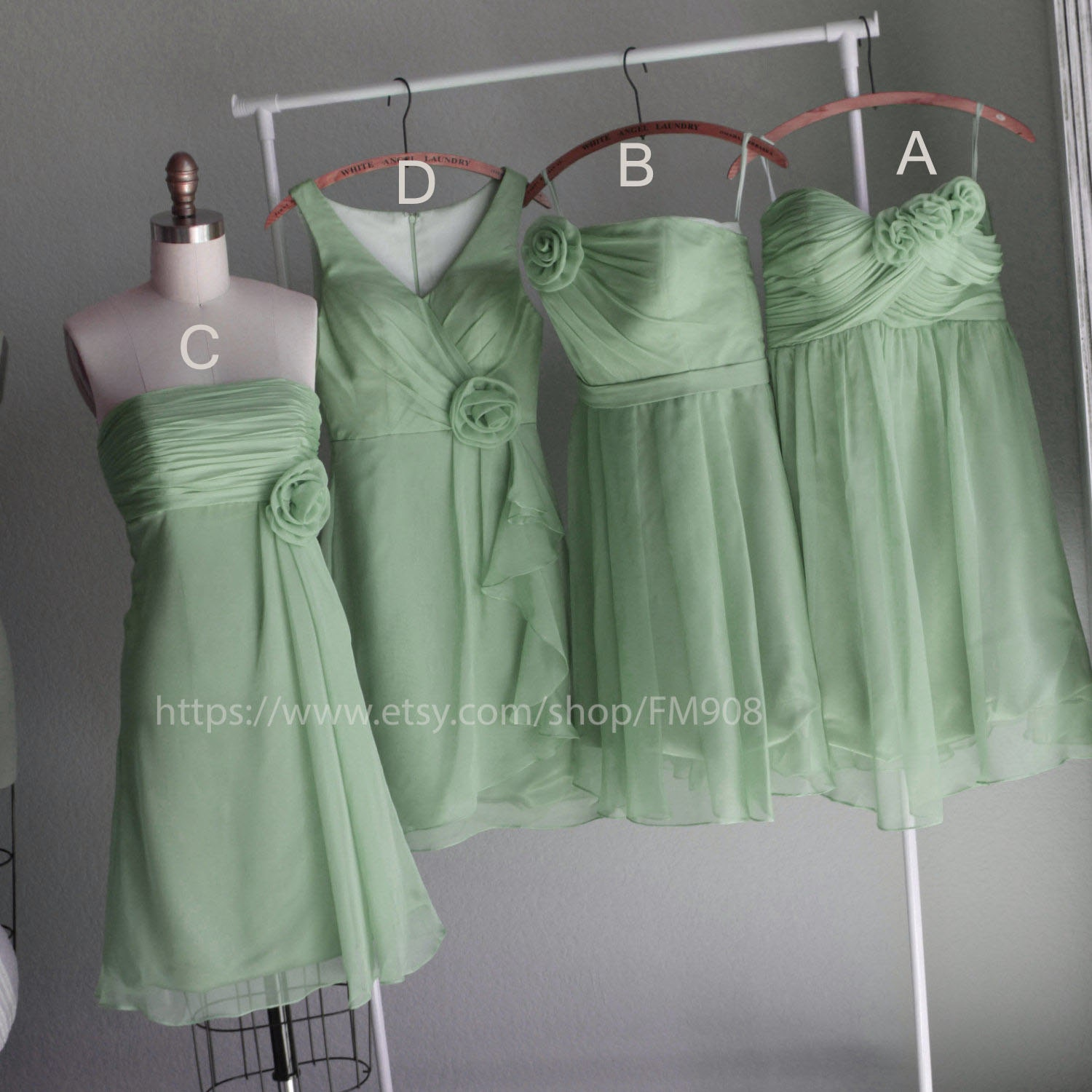 Mix match style bridesmaid dresses romantic mint green for Mint green wedding dress
