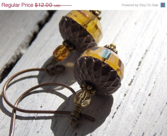 Super Sale Acorn Earrings, Honey Amber Czech Glass, Fall Jewelry, Vintaj Antique Brass Earrings, Holiday Jewelry - NickiLynnJewelry