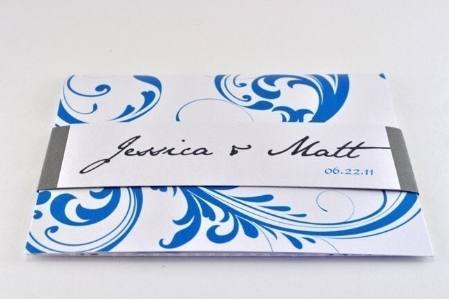 Wedding Invitation with Perforated RSVP Postcard Sample grey teal