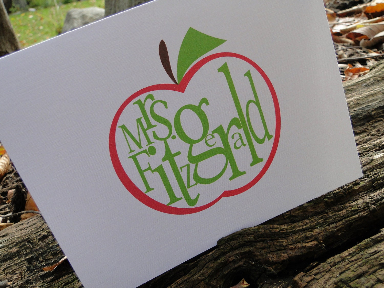 Custom Red Apple Teacher Note cards (set of 10)