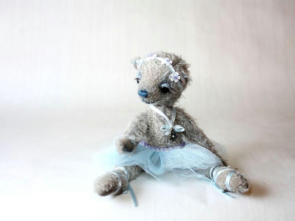 Artist Teddy Bear Ballerina Alisia, OOAK, gray, blue, mohair - MrBearFamily