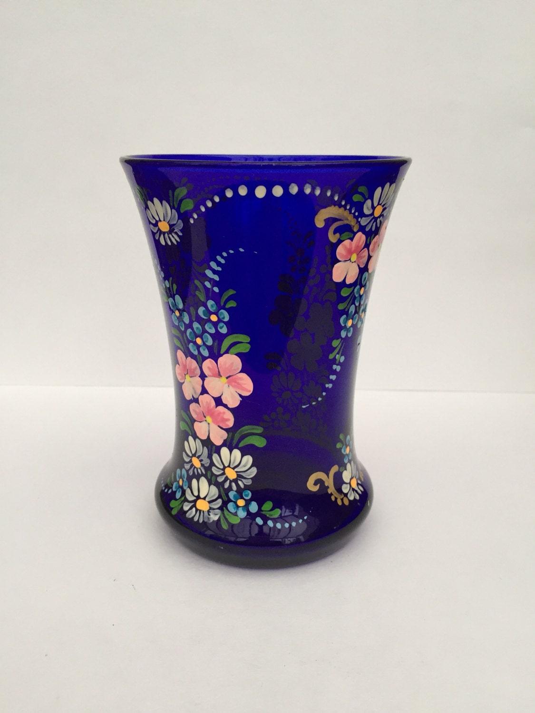 Vintage Hand painted Flowers Cobalt Blue Glass Vase Vintage Flower Vase Home Decor