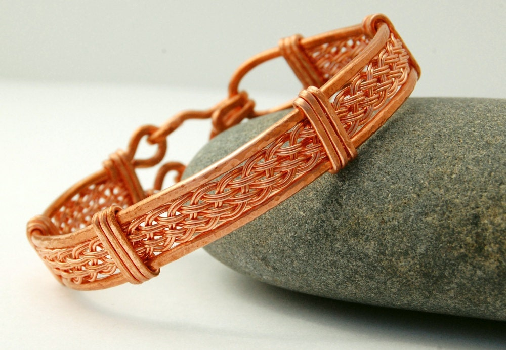 Wire Wrapped Woven Bracelet - Copper Bangle Bracelet - MiscellaneaEtcetera