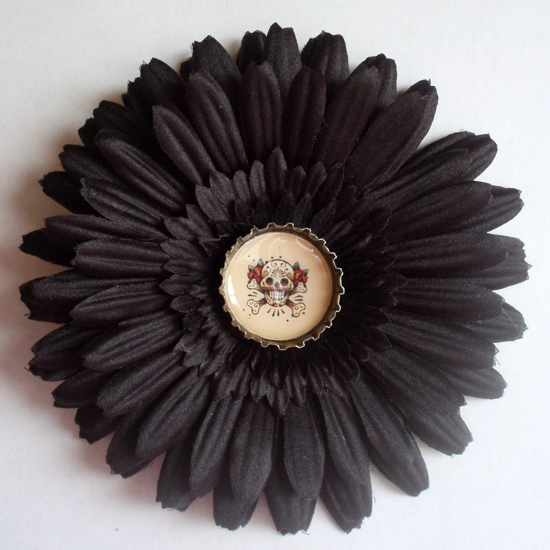 Rockabilly Black Sugar Skull Hair Flower Tattoo Art by JuicyLucys