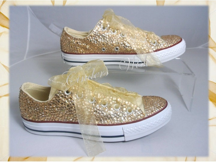 Gold Wedding Converse  All over  Gold Sparkling Converse  Wedding shoes Prom shoes  Bridal Converse  Bride Converse  Wedding Converse