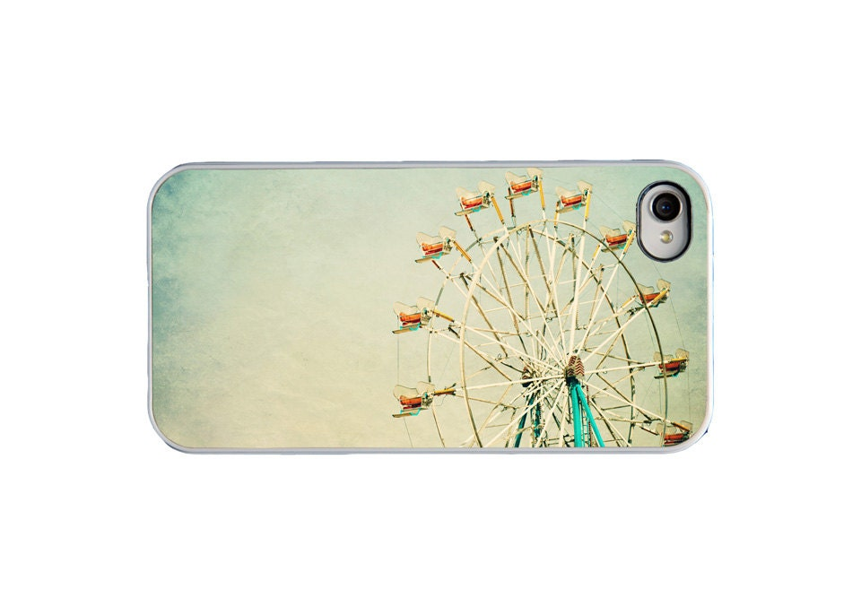 iPhone 4 case retro ferris wheel photo - vintage, mint, green, carnival, whimsical, fair - hard plastic iPhone cover