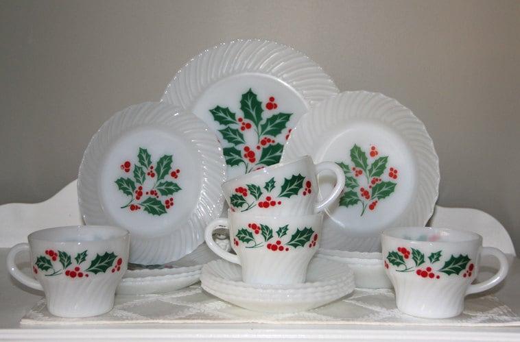 Vintage Milkglass 20pc Set Dishes Termocrisa By Trulytina