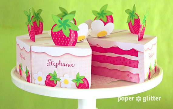 Strawberry Shortcake Paper Cake Slice in PINKS favor baking party box printables - Editable Text Printable PDF 1053