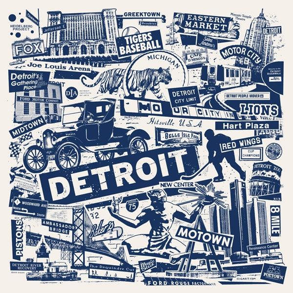 Detroit michigan motor city car collage silk screen by gigart for Motor city detroit mi