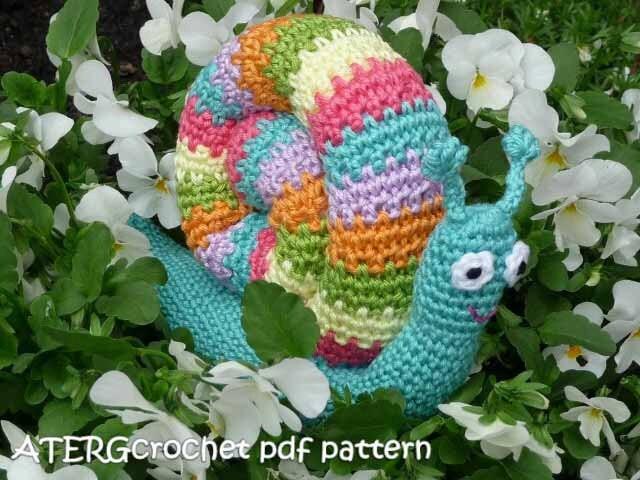 Newborn Snail Crochet Pattern Free : Crochet pdf pattern RAINBOW SNAIL by ATERGcrochet on Etsy