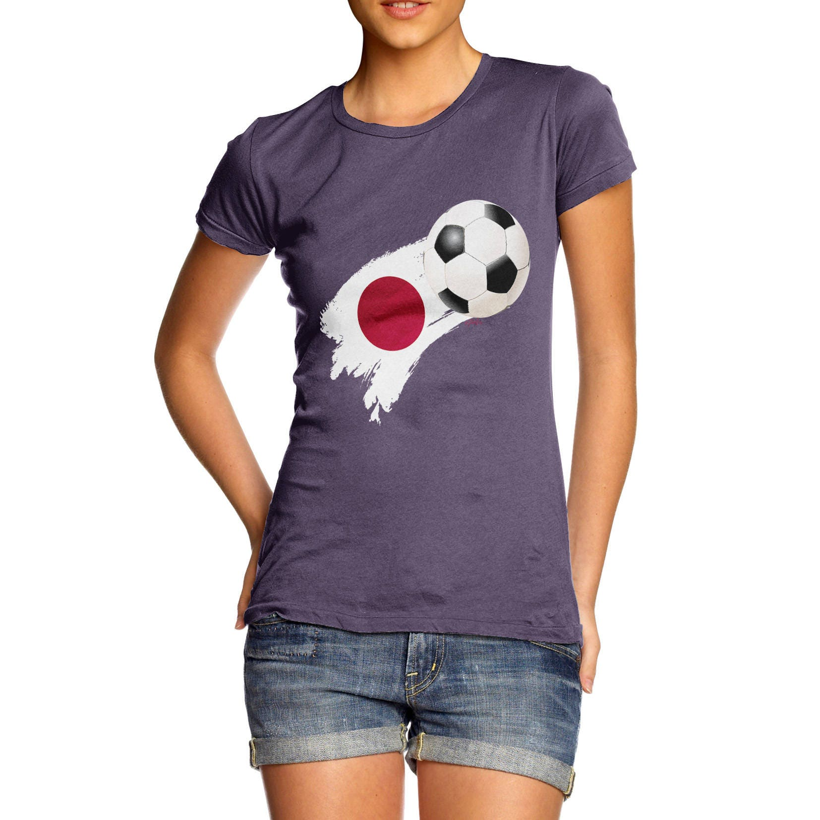 Japan Football Flag Paint Splat Womens Funny  100 Cotton TShirt Crew Neck Comfortable and Soft Classic Tee with Unique Design