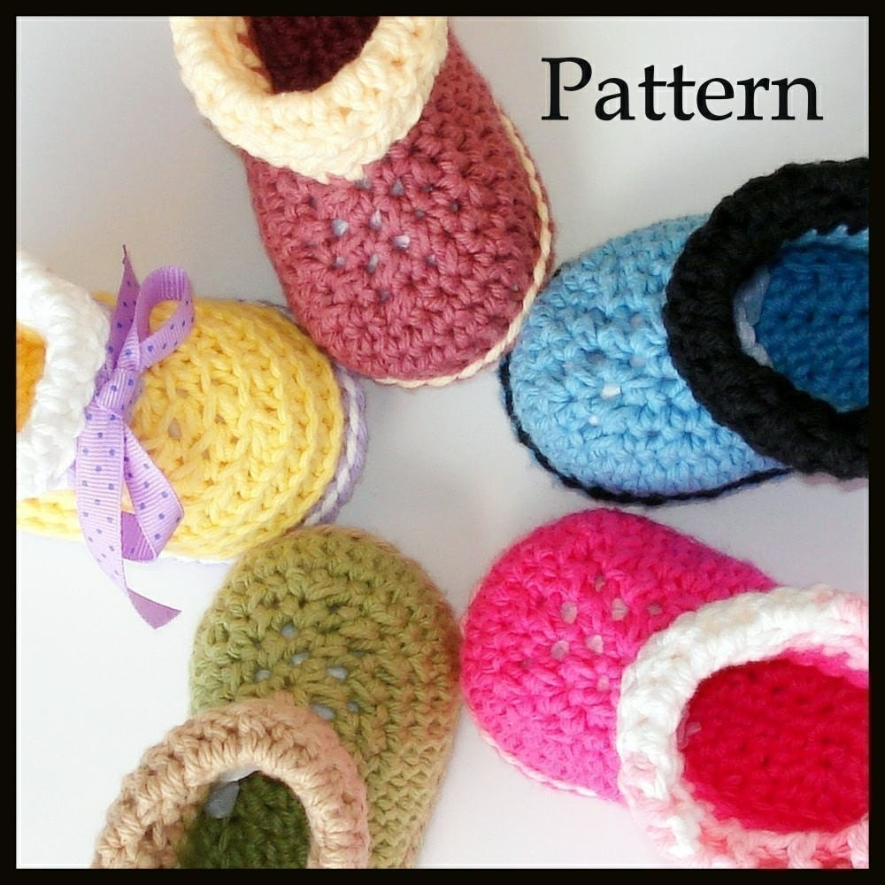 Crochet pattern baby booties Cuffed Boots by Genevive on Etsy