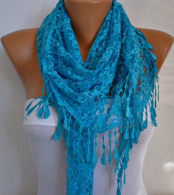on sale turquoise lace scarf shawl scarf scarves by