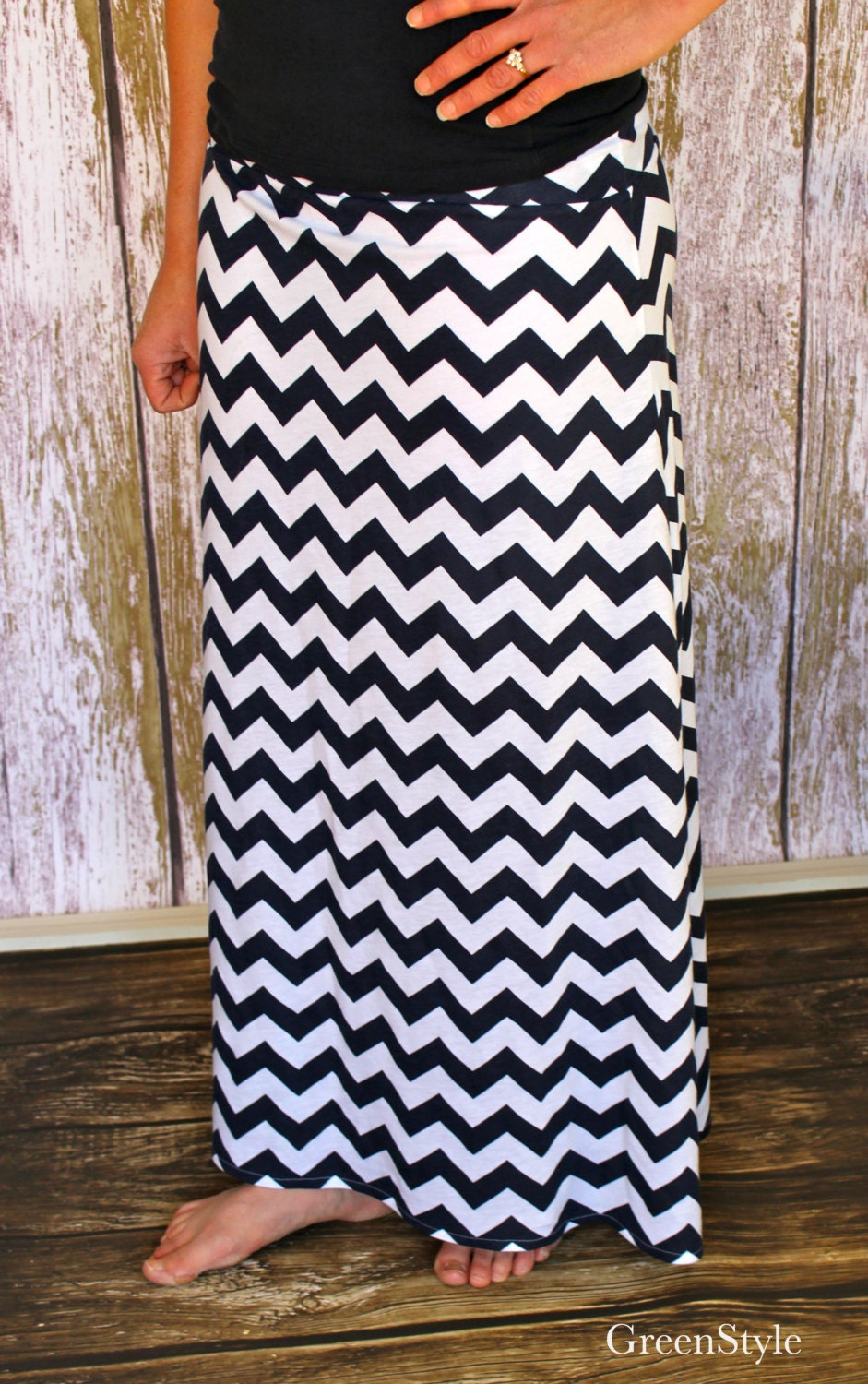 nautical navy and white chevron maxi skirt a line by