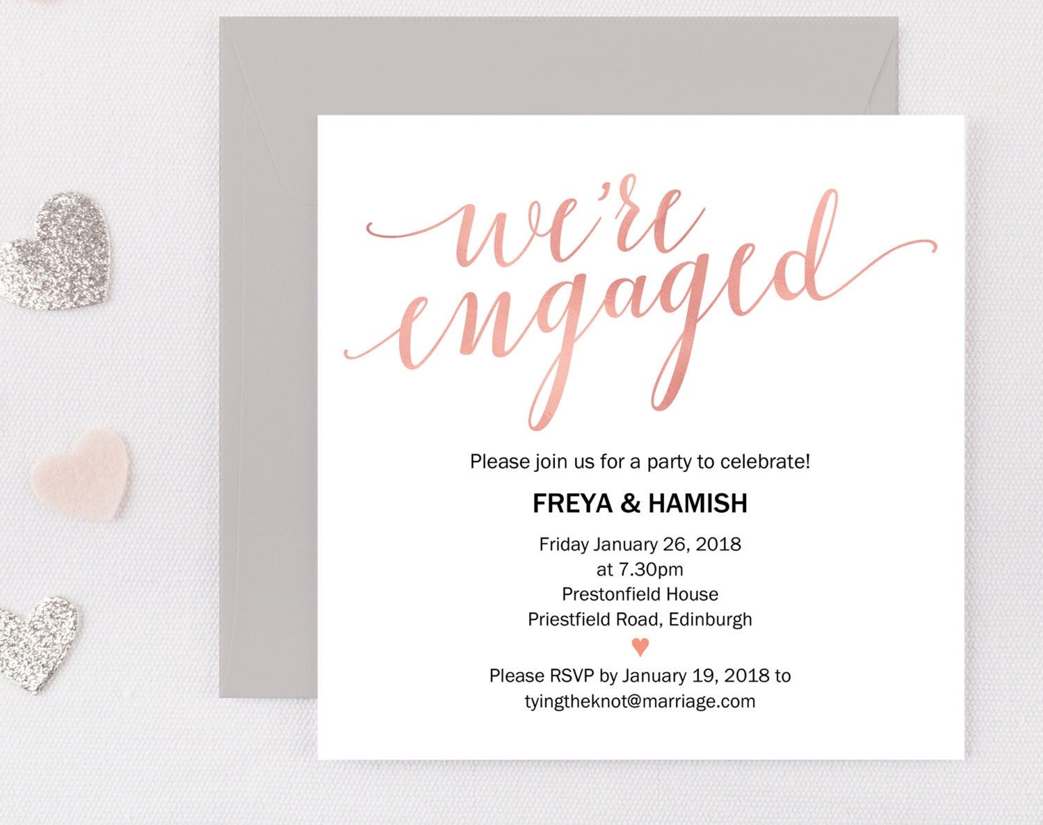 Engagement Party Invitation Engagement Party Invite  Engaged Announcement Printable Invitation Editable PDF Engagement Printable Blush