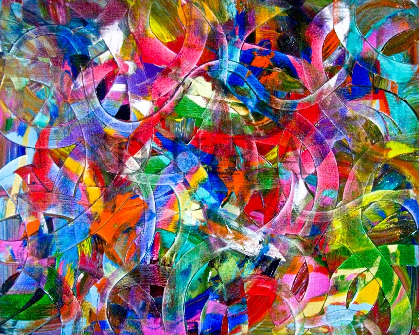 "Original abstract painting,Chaos,24"" x 30"" - HelloArtLover"
