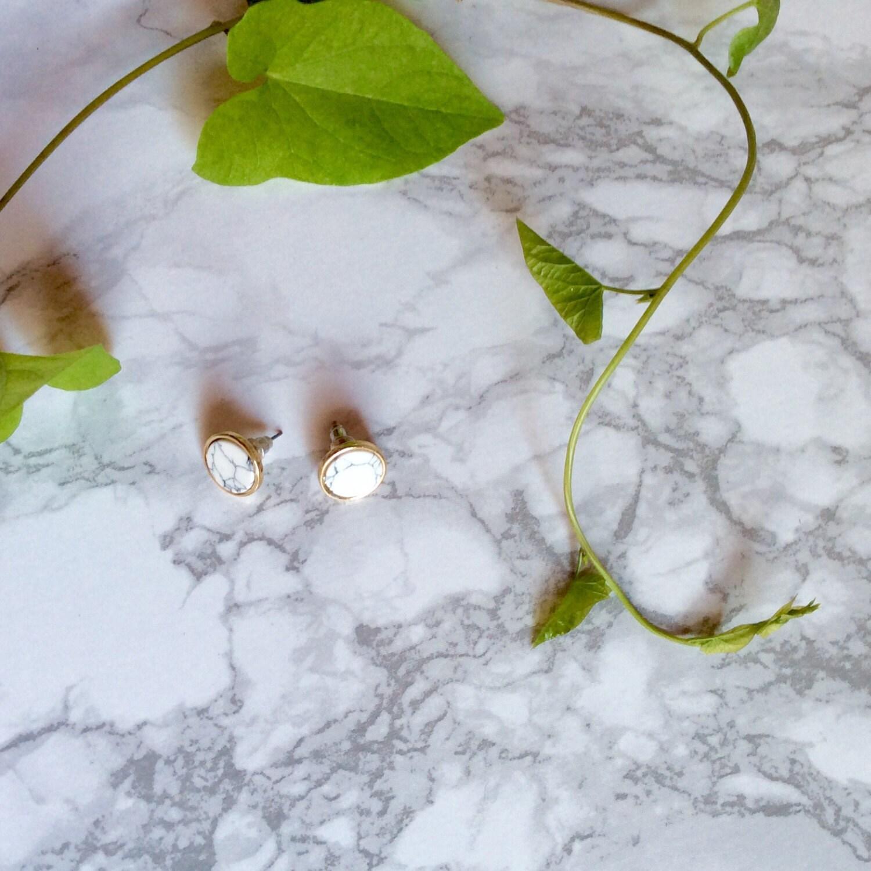 Image du produit Boucle doreille, Bijoux doreille minimalist, marbre, Cube/Triangle,