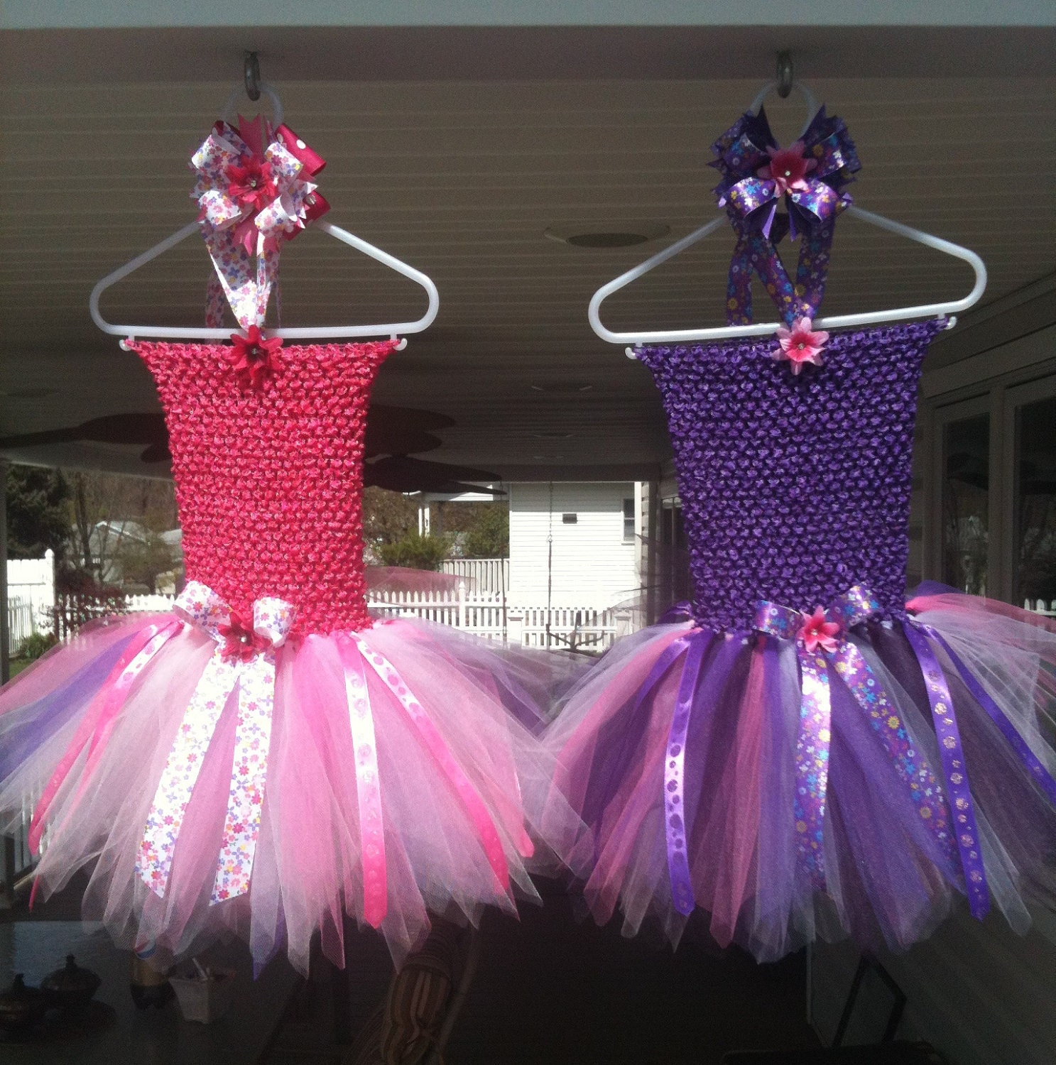 Pink and Purple matching TuTu Dresses with matching Hair Bows