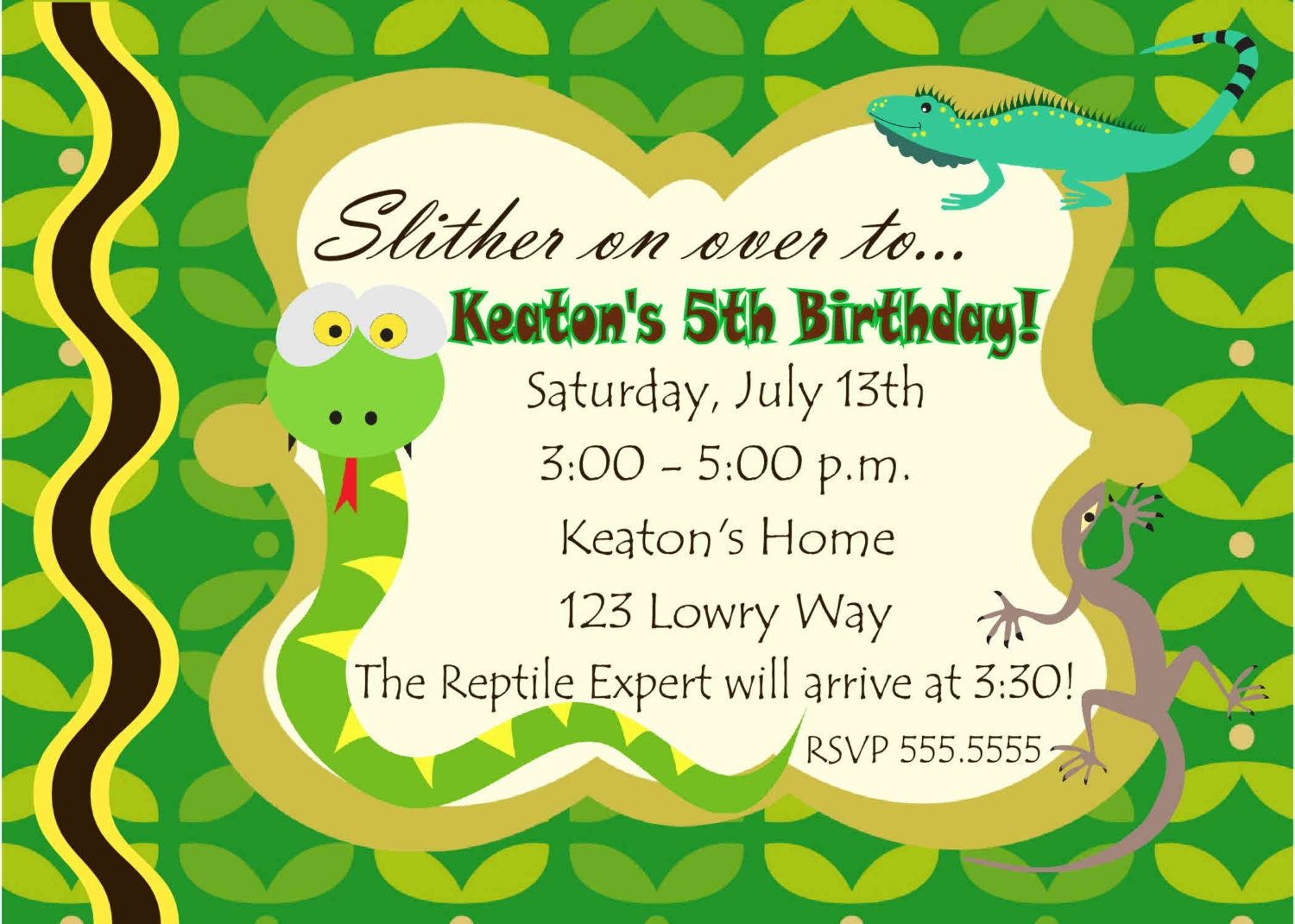 Digital Reptile Snake Photo Birthday Party by ...