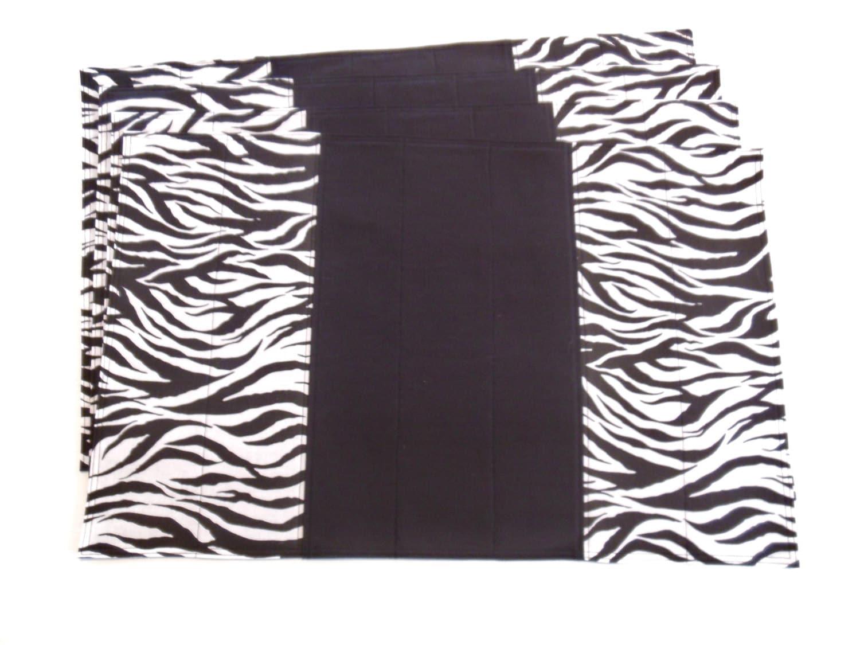 zebra print placemats black and white decor by fernsatthelake. Black Bedroom Furniture Sets. Home Design Ideas
