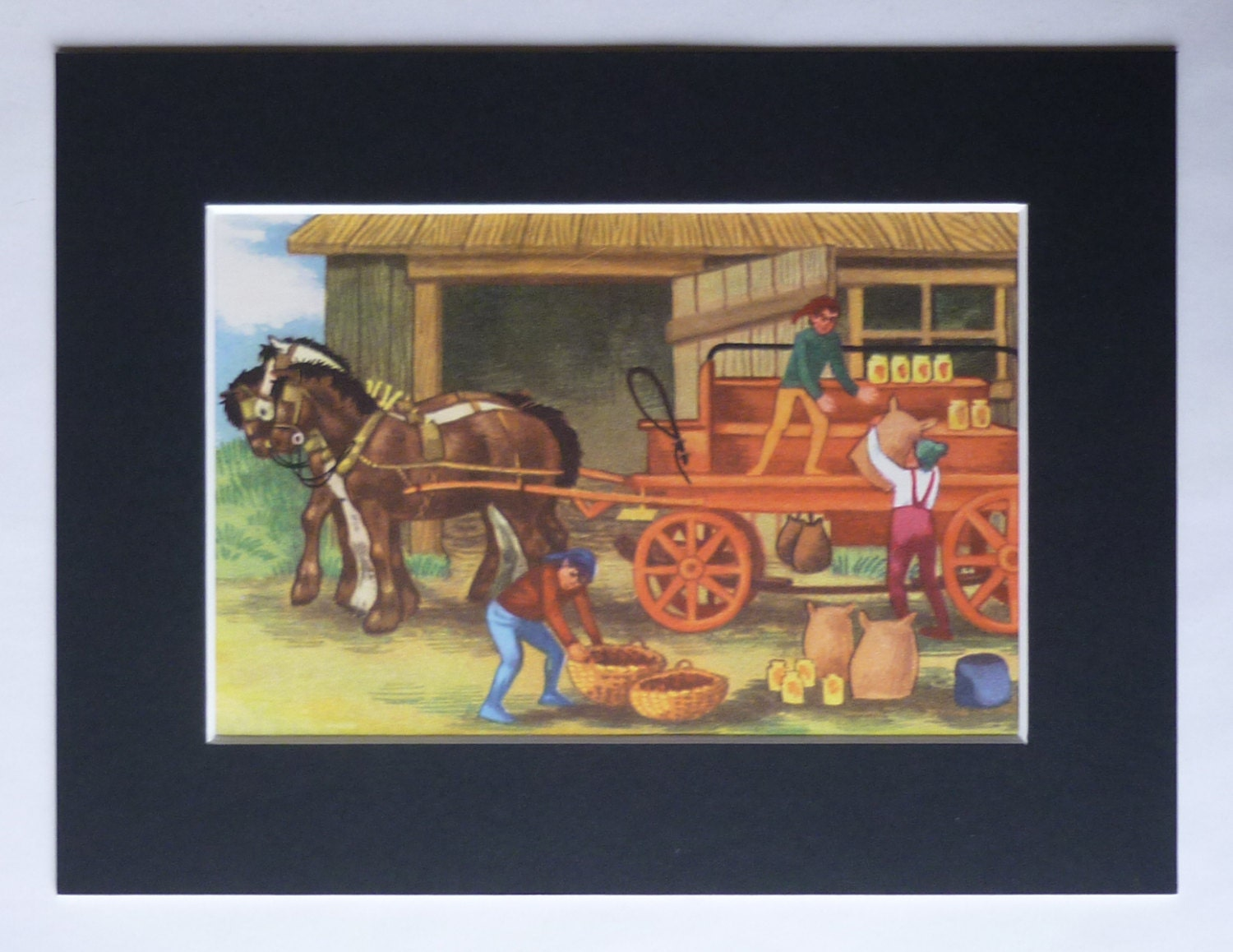 1950s Vintage Childrens Print of a Shire Horse and Cart Harvest Festival Wall Art Old Rural Equestrian Decor Available Framed Nursery Art