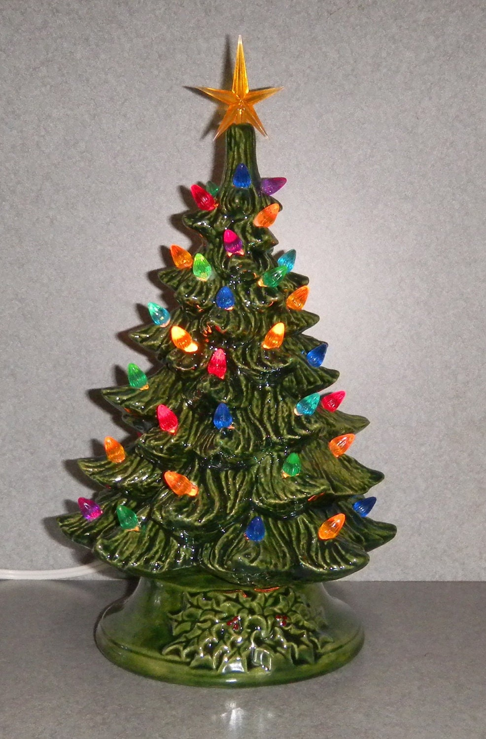 Ceramic Lighted Christmas Tree 11 Inches By Suesuesuecrafts