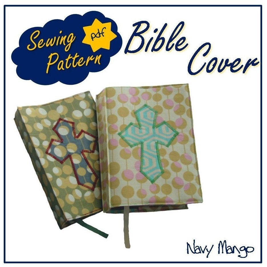 Bible Book Cover Pattern ~ Bible cover pdf sewing pattern tutorial by navymango on etsy