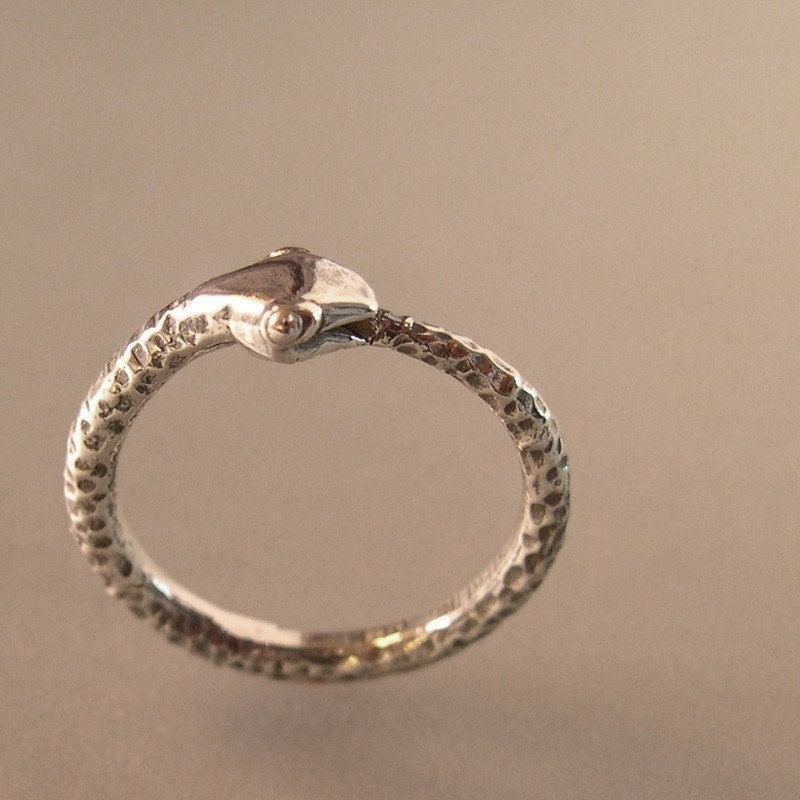 silver snake ring ouroboros serpant by chrismuellerjewelry