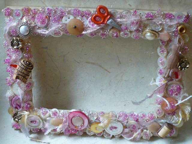 Shabby Chic Sewing Theme Picture Frame  - Memory Board Button Embellished - Custom Frame